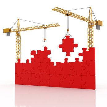 two cranes and construction puzzle